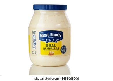 BOTHELL, WA/USA- September 09, 2019: Best Foods real mayonnaise logo on plastic bottle isolated on white background with reflection