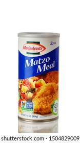 BOTHELL, WA/USA- September 15, 2019: Can of Manischewitz matzo meal bread crumbs isolated on white background with reflection