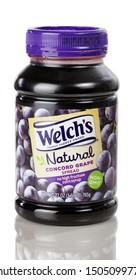 BOTHELL, WA/USA- September 15, 2019: Jar of Welch's Concord Grape Spread isolated on white background with reflection