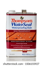 BOTHELL, WA/USA- September 16, 2019: Can of Thompsons water seal wood stain isolated on white background with reflection