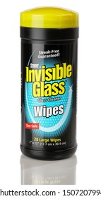 BOTHELL, WA/USA- September 17, 2019: Bottle of Stoner Invisible Glass Cleaner Wipes isolated on white background with reflection