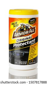 BOTHELL, WA/USA- September 18, 2019: Bottle of Armorall original protectant wipes isolated on white background with reflection
