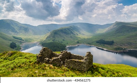 Bothy ruins above Haweswater, The Lake District, Cumbria, England