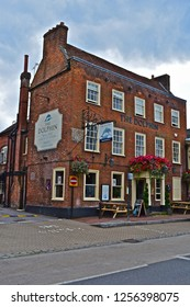 Botley, Hampshire / England - 8/15/2018: The Dolphin Hotel is a long established business in a Georgian building, situated in the historic village of Botley, Southampton,Hampshire