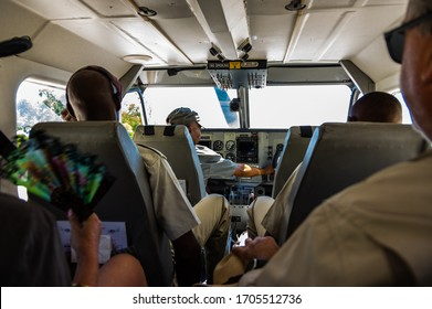 Botswana Africa 1 December 2018 Flying out from Maun Airport small passenger aircraft service the Okavanga Delta and Moremi Game Reserve
