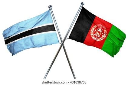 Botswana flag with Afghanistan flag, 3D rendering