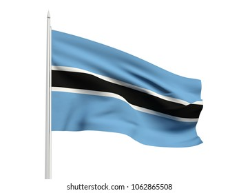 Botswana flag floating in the wind with a White sky background. 3D illustration.