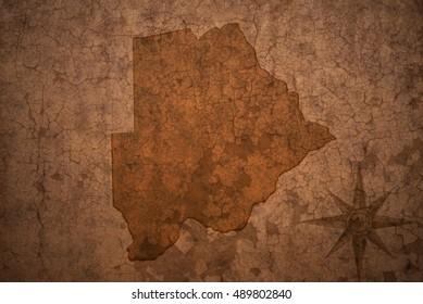 botswana map on a old vintage crack paper background