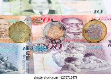 Botswana Pula coins on the background of banknotes