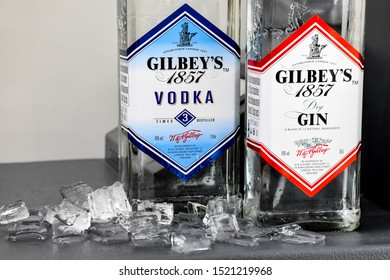 Lop​Buri​-Thailand,03/10/2019: Bottle of Gilbey's​ 1857 dry  Gin, a brand of gin owned by Pernod Ricard and bottled and distributed in the UK, by the company of James Burrough.