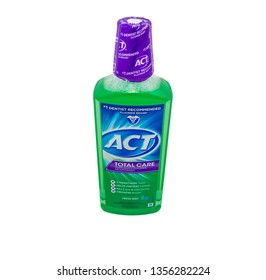 A bottle of ACT Total care flouride mouthwash