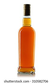 Bottle with alcohol on a white background