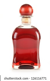 Bottle of alcoholic product isolated on white