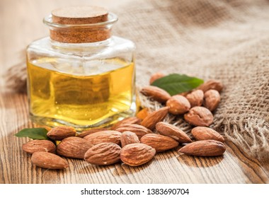 Bottle almond oil and almond