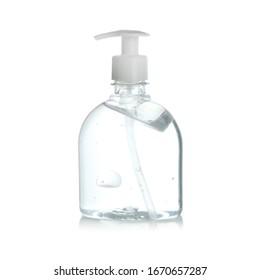 Bottle of antibacterial hand gel on white background