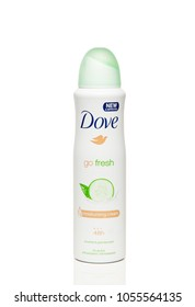 Bottle anti-perspirant Dove Go Fresh - moisturising cream 48h, new&improved, cucumber and green tea sccent, isolated on white background.