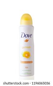 Bottle anti-perspirant Dove Go Fresh - moisturising cream 48h, new&improved, grapefruit and lemongrass scent, isolated on white background.