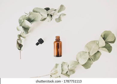 Bottle of aromatic cosmetic or essential oil on a white background surrounded by eucalyptus branches on a white background. Top view. Copy space.