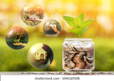 Bottle bank of money and seed plant growing value with savings for investment and bubbles for business dreams loan with plan as buy home and car and shopping and a travel in the future concept.