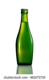 Bottle of beer or cider with clipping path isolated on white background