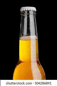 Bottle of beer with frost frost on black background