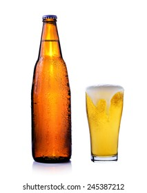 bottle of beer and glass of beer isolated on white background