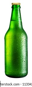 Bottle of beer isolated on a white background. File contains a path to cut.