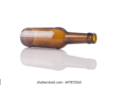 Bottle of beer isolated on white background with a relfection