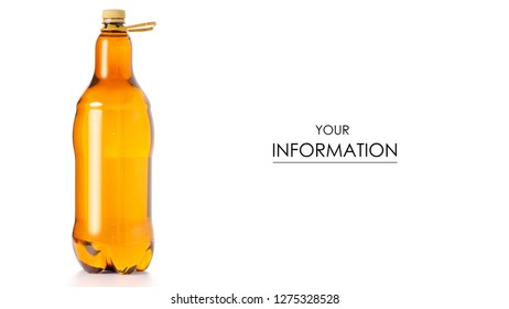 A bottle of beer kvass pattern on a white background isolation