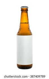 Bottle of beer on isolated white background. Free space for your text.