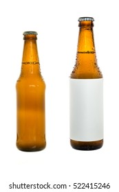 Bottle of beer on isolated white background