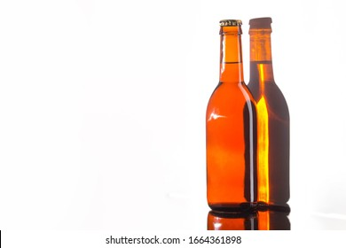 A bottle of beer, beer on a white background, insulated bottle,