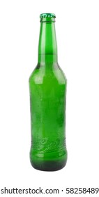 A bottle of beer is slanted with white background