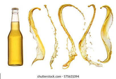 bottle of beer and beer splashes isolated on white background