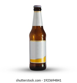 Bottle of beer with tag isolated on white background