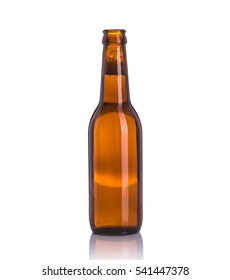Bottle of beer without cap. Studio shot isolated on white background