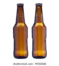 Bottle of beer. with and without water drops.