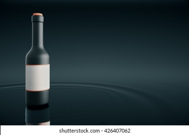 Bottle with blank lable placed on water and dark background. Mock up, 3D Rendering