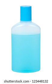 bottle with blue liquid isolated on white background