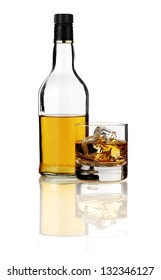 bottle of bourbon with glass isolated