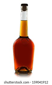 bottle of brandy on a white background.
