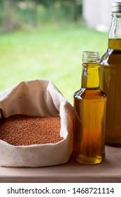 A bottle of camelina oil