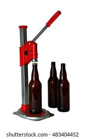 Bottle Cap Press and Bottles for Homebrew Beer