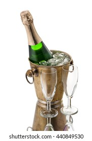 Bottle of champagne in bucket and goblets isolated on white