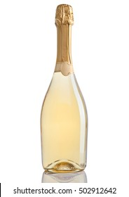 Bottle of champagne golden yellow color on white background