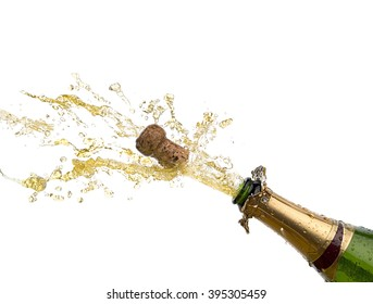 bottle of champagne with splash