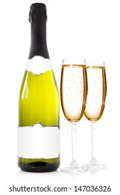 Bottle of champagne with two glasses over a white background