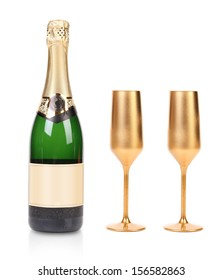 A bottle of champagne and two golden glasses. Isolated on a white background.