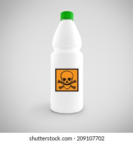 Bottle of chemical liquid with hazard symbol for toxic material