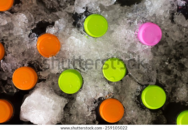 Bottle Chilled Ice Box Top View Stock Photo (Edit Now) 259105022